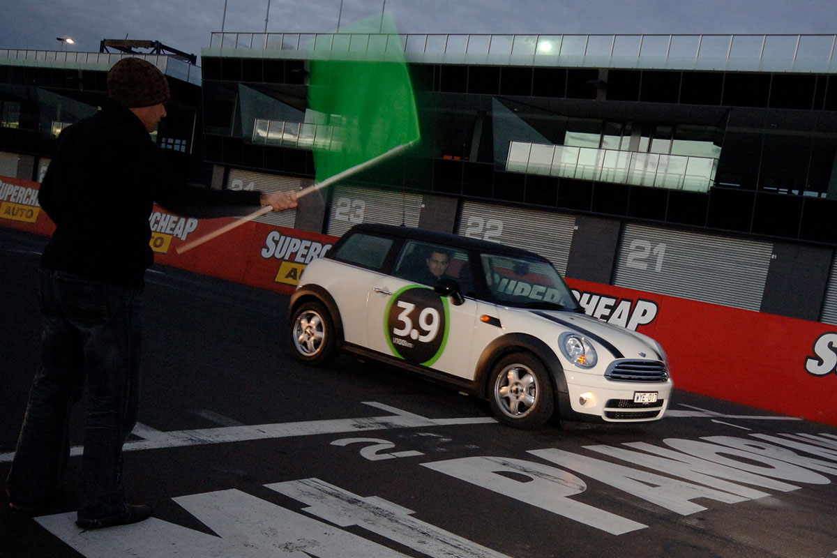 Mini Cooper on the start line at Bathurst 1000.